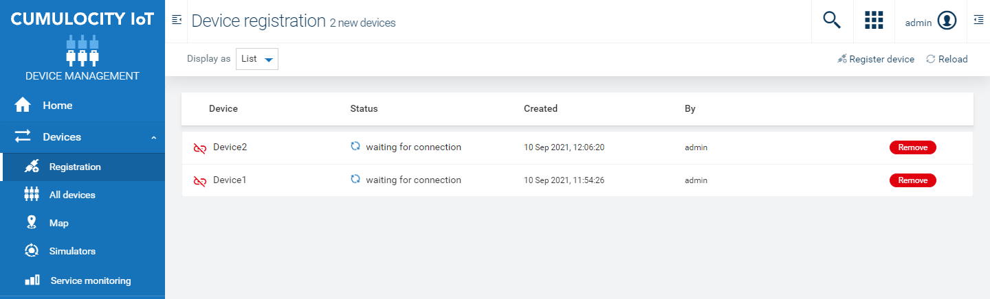 Device registration page
